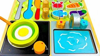 Fun Playing Kitchen Cooking Learn Colors and Names of Foods Plus Surprise Toys for Kids