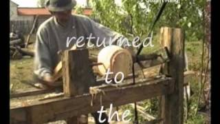 Romanian Pole Lathe Flask Turner .wmv