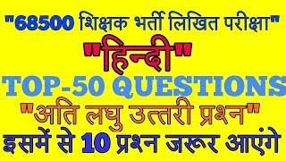 HINDI TOP 50 IMPORTANT QUESTIONS//WRITTEN EXAMS//CTET//DSSSB/TET & ALL