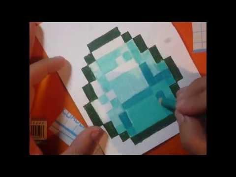 Como dibujar un Diamante de minecraft paso a paso tiempo real y speed drawing