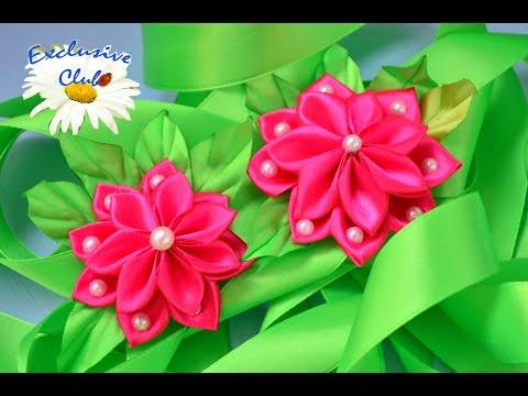 Мастер класс по созданию цветных резинок канзаши из ленты 2,5 сантиметров / DIY на tubethe.com