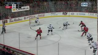 Ben Bishop's First Save with the LA Kings   Kings and Flames Tied 0-0