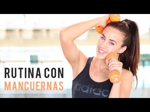 Rutina de ejercicios con mancuernas youtube for Pesas y mancuernas