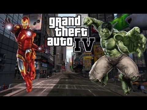 "GTA 4 PC Mods ""Hulk & Iron Man Save Liberty City"" GTA 4 Avengers Mod"