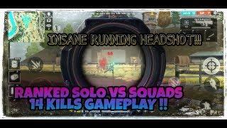 RANKED 14 KILLS SOLO VS SQUADS GAMEPLAY !! Garena Free Fire !!