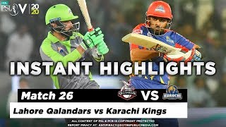 Lahore Qalandars vs Karachi Kings | Full Match Instant Highlights | Match 26 | 12 March | HBL PSL 5
