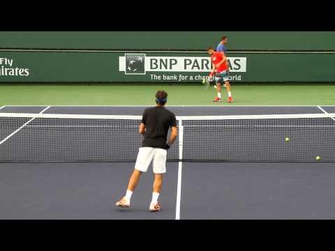 Roger Federer Volley Practice 2014 BNP Paribas Open