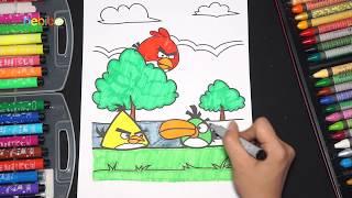 Bé tập tô màu gia đình chim điên Angry Bird