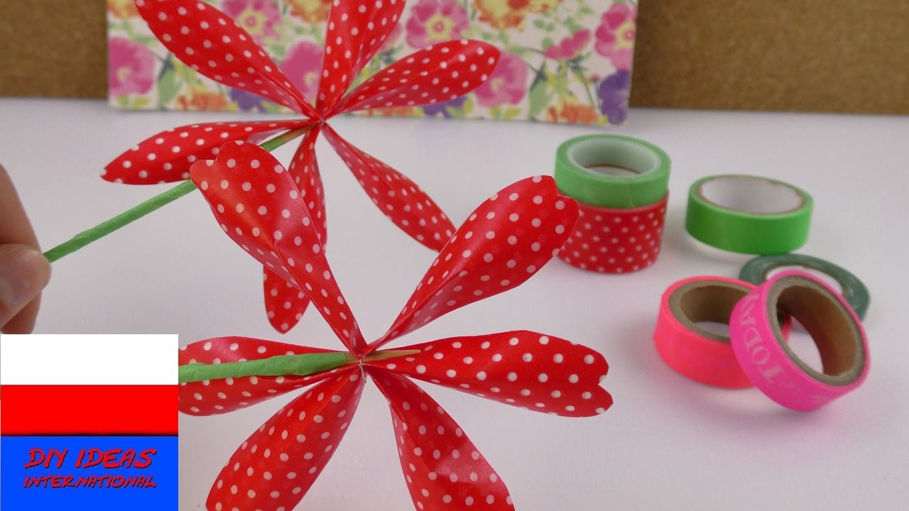 Kwiatek z Washi Tape   dekoracja na okno albo pomysł na prezent