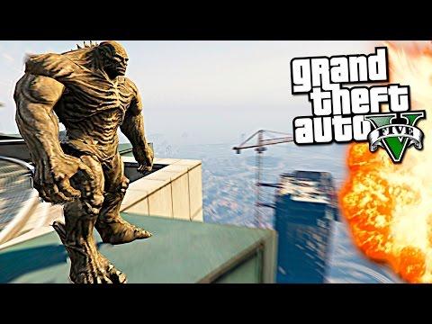 GTA 5 Моды: Годзилла разрушает Лос-Сантос! - Безумие