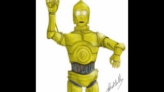 How to draw the clone wars C3PO sketched on the ipad