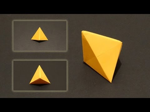 How To Make An Origami Tetrahedron - Three Sided Pyramid - Ornament