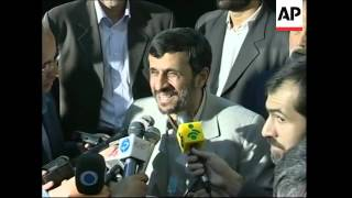 WRAP AP pix of Ahmadinejad voting in parl elections, s'bite