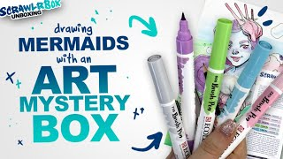 PASTEL WATERCOLOR BRUSH PENS! | Mystery Art Supplies | Scrawlrbox Unboxing | Mermay