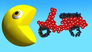 Learn Colors With 3D Vehicles and Pacman Youtube Kids Funny Colors Toons