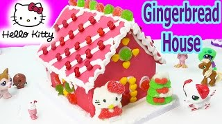 Hello Kitty Holiday Candy Pink Gingerbread Cookie House Making Kit Set Frosting Gummy Christmas Food