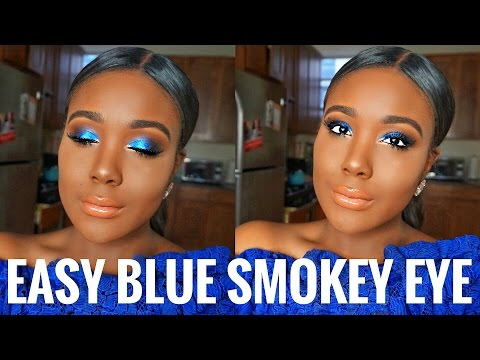 GET READY WITH ME: BLUE SMOKEY EYES Makeup For Black Women Tutorial 2017