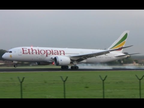 Ethiopian airlines 787 Dreamliner landing at Brussels airport
