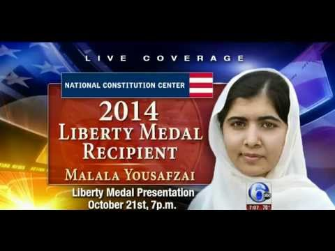 Malala Yousafzai Liberty Medal Winner Pakistani Girl Shot By Taliban Youngest Recipient