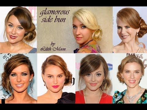 Side Swept Wedding/prom Hairstyle For Long Hair Curly Bun Updo Celebrity Look