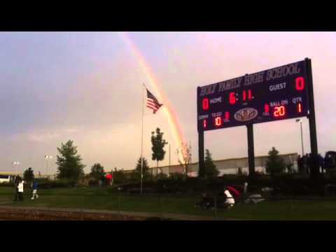 Video: a rainbow over Holy Family High School #broomfield before the football game against Discovery