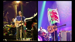 Elin Hughes,James Jones & Coldplay Singing The Welsh National Anthem In Cardiff 11/7/17
