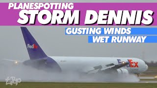 STORM DENNIS | Aircraft Landing Wet Runway Gale Force Winds Plane Spotting Ryanair, FedEX, Jet2