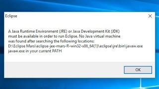A Java Runtime Environment JRE or Java Development Kit JDK must be available in order to run Eclipse