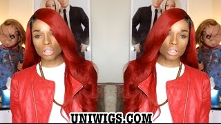 Uniwigs Red Rihanna Wave Lace Wig #CL0444