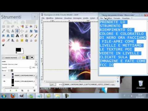 7°|tutorial gimp|:|Come aggiungere texture ad uno sfondo,e come fare scritture belle