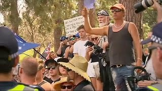 A group of anti-mosque protests in Australia