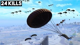 MOST EPIC MILITARY LANDING EVER! | 24 KILLS Solo vs Squad | PUBG Mobile