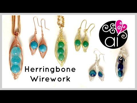 Herringbone Wire Wrapping Tutorial   Three Peas in a Pod Pendant + Earrings