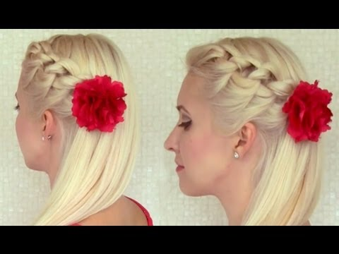 Knotted headband braid tutorial Braided hairstyle for medium long hair Prom party half updo ...