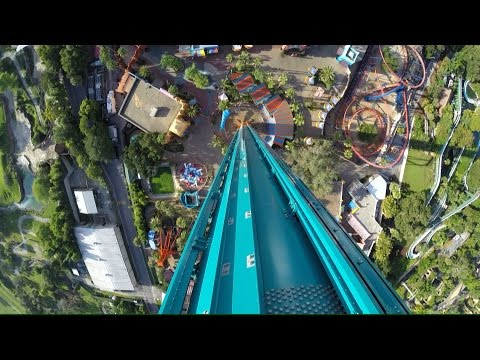 Falcon's Fury at Busch Gardens FULL POV Ride w/ Designer Jeff Hornick Interview During Climb