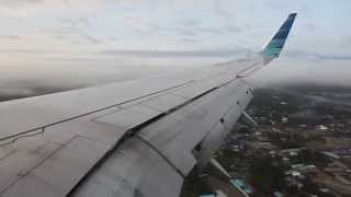 Garuda Indonesia PK-GNE morning landing at Mozes Kilangin Airport in Timika