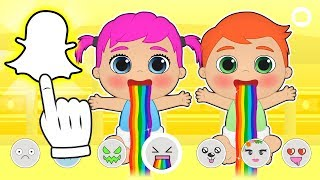 BABY ALEX AND LILY 👻 Taking Pictures with Snapchat | Educational Cartoons