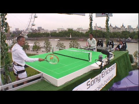 Gary Lineker and Heather Watson play tennis in the sky