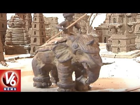 Art Festival In Mahabubnagar | Baahubali Set Attracts People | V6 News