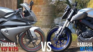 Yamaha YZF-R125 VS MT125 Review/Comparison
