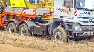 RC trucks and machines on a huge construction zone! Truck stuck!