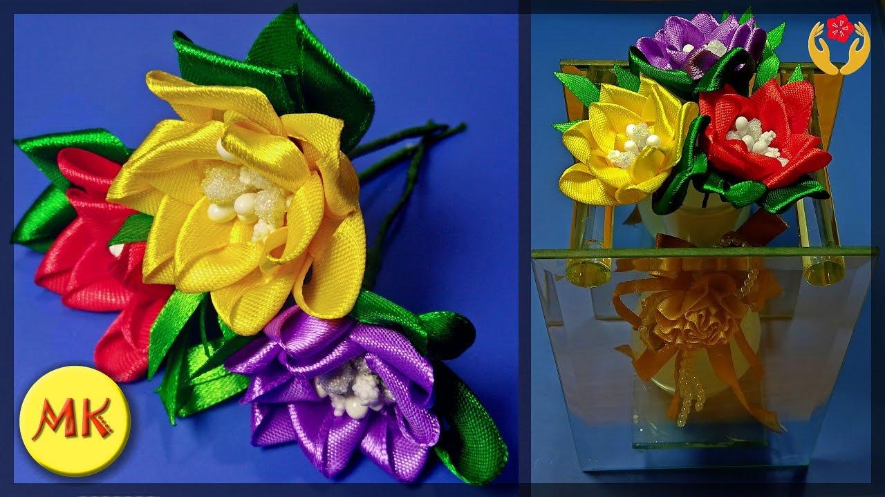 Атласные цветы канзаши своими руками мастер класс 98