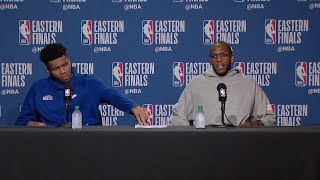 Giannis Antetokounmpo & Khris Middleton Postgame Interview - Game 6 | May 25, 2019 NBA Playoffs