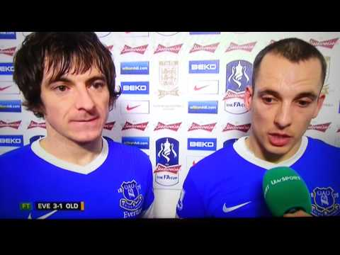 FA CUP Everton 3-1 Oldham interview  LEON OSMAN & LELGHTON BAINES 26/02/2013