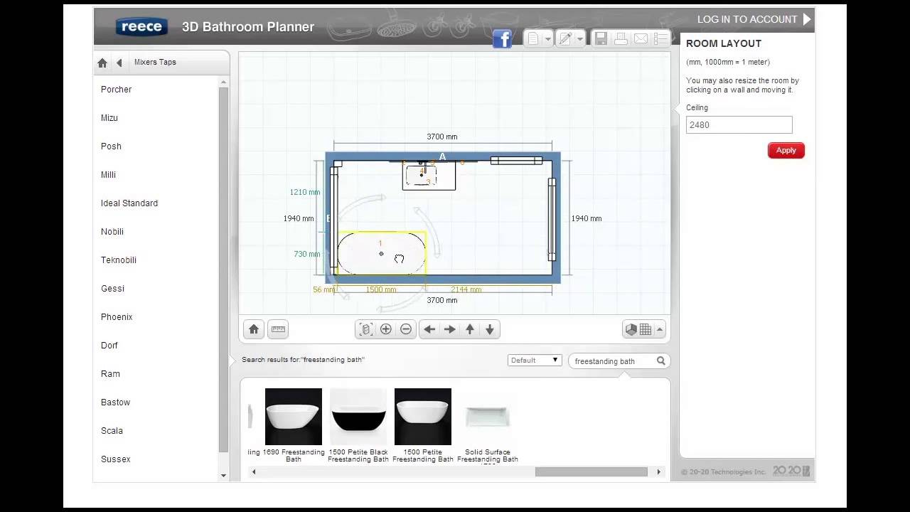 Tutorial 3 products reece 3d bathroom planner youtube for Bathroom planner 3d
