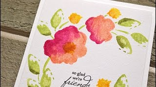 stamping multiple color watercolor flowers