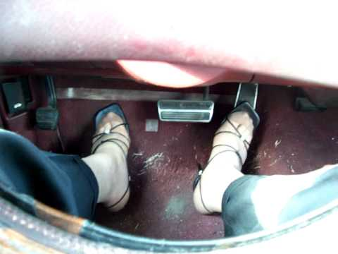 Pedal pumping on 10-15-10 in strappy sandals and Hanes pantyhose