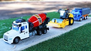 Building Road With Toys Car  | Construction Vehicles For Kids| Excavator ,Dump Truck  ,Cement Truck
