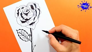 Como dibujar una Rosa|how to draw a rose| Easy art