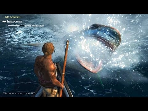 Assassin's Creed IV: Black Flag - Great White Shark Harpooning WTF AC4